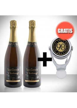 Pack 2 botellas de Cava Santerra Chardonnay + Regalo tapón de cava